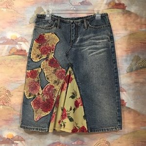 """Dresses & Skirts - 💥SALE!💥Bedazzled & distressed """"jeans"""" skirt"""